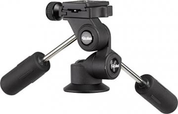 Rollei Rock Solid Dreiwegeneiger M - extrem leichter Aluminium Stativkopf mit 4 kg Traglast, präzise Einstellung, ArcaSwiss kompatibel - schwarz - 5