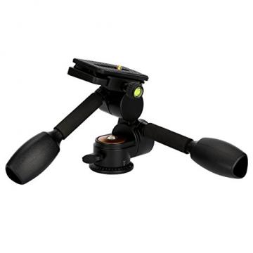 TARION® Q80 Drei-Wege-Neiger Stativ-Kopf Zwei Kipphebel Panorama + Schnellwechselplatte für DSLR Kamera Dreibeinstativ Einbeinstativ - 2