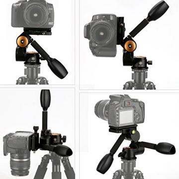TARION® Q80 Drei-Wege-Neiger Stativ-Kopf Zwei Kipphebel Panorama + Schnellwechselplatte für DSLR Kamera Dreibeinstativ Einbeinstativ - 6